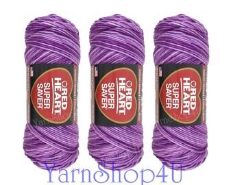 3 pack  PURPLE TONES Red Heart Super Saver, purple variegated, 5oz acrylic yarn, purple ombre yarn, purple multi color worsted weight yarn