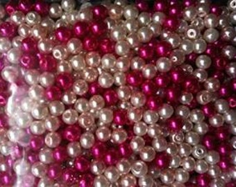 300 Pink Mix Glass Pearl Beads 4mm  Ideal for jewellery, decoration,