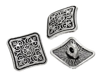 Metal Antique Silver Square Flower Design Buttons 13mm. Nickel Free. Ideal for Sewing Knitting Scrapbook and other craft projects