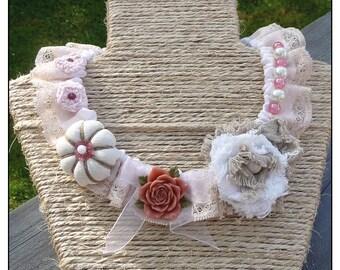 Powder Pink textile necklace
