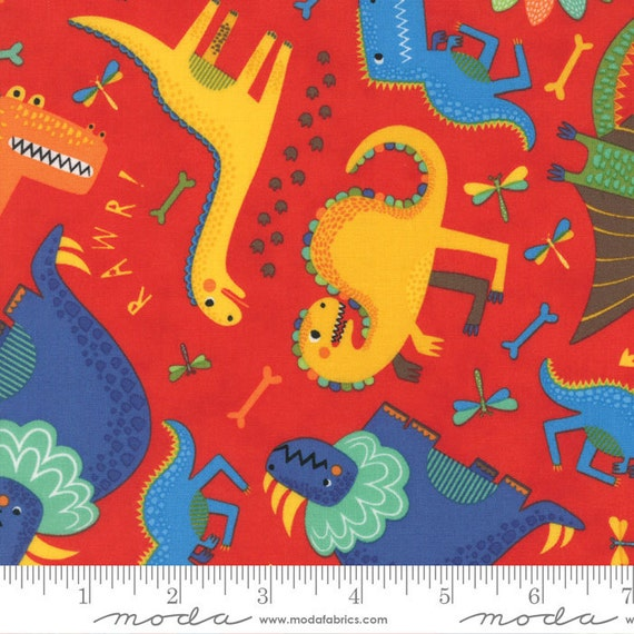 Dinosaur fabric moda jurassic jamboree 35290 18 red abi for Dinosaur fabric