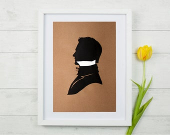 Hand-cut paper silhouette 'His' black and white, gentleman on brown kraft 8.5x11 paper, original artwork