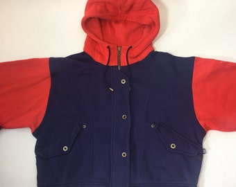 90s Nike Colorblock Cropped Womens Zip Up Hoodie Purple and Red