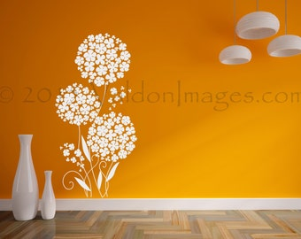 Pixie flower wall decal, dandelion wall decal, tree wall decal, bedroom wall decal, dorm room decor, nursery decor, nursery wall decal