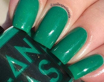 Green Goddess by CANVAS lacquer - a creamy emerald with gold sparks