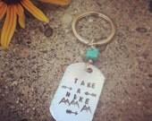 Take A Hike Stamped Keychain