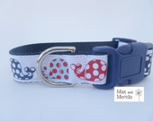adjustable dog collar, Nautical Modern Whale, Navy and Red Print, pet gift, fur baby, Pet Owner Gift, Pampered Pet, Dog Accessories