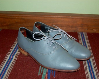 "Men Size 8 Vintage ""Angelo Cellini"" Gray Oxford Shoes"