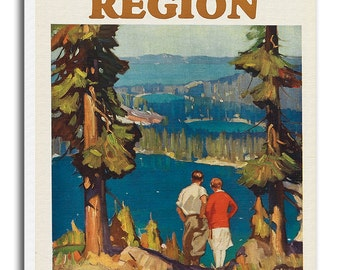 Lake Tahoe Art Canvas Travel Poster Print Gift Hanging Wall Decor xr639