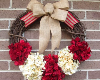 Grapevine Wreath, Grapevine Door Wreath,Christmas Wreath, Hydrangea Christmas Wreath, Door Wreath, Year Around Wreath, Hydrangea Wreath