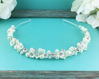 Rhinestone Crystal Ivory Pearl Headband, wedding headband, wedding headpiece, rhinestone tiara, crystal bridal accessories 270847754