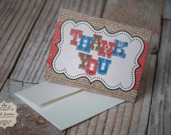 Western Cowboy Bandana Thank You Cards-Set of 15