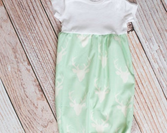 Mint with White Deer Antlers/Horns Baby Gown Baby Shower Gift~ Sizes Preemie, NB, 3 m, 6m~ Personalized Glittery Vinyl or Embroidery