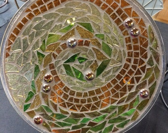 """12"""" Stained Glass Mosaic Plate--Amber Waves Design"""