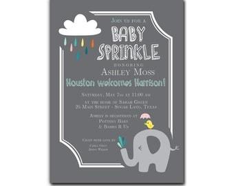 Elephant Baby Sprinkle / Baby Shower Invitation