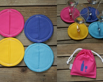 4 wine coasters with drawstring bag