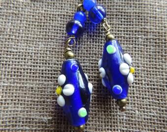 HANDMADE Dark Blue Earrings with White flowers/ 5.8cm
