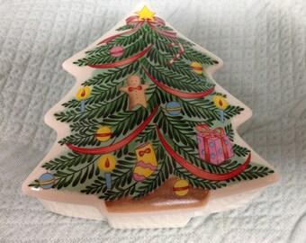 Christmas Tree Porcelain Box, Christmas Tree  Trinket Box, Christmas Box, Jewelry Box, Christmas Candy Box