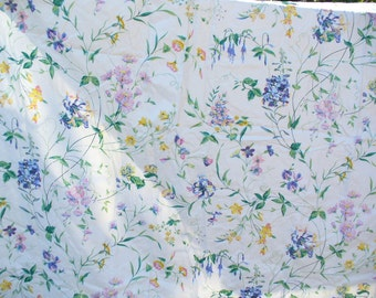 Large piece of floral cotton chintz fabric used to be a curtain