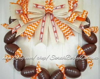 University of Tennessee Inspired Football Wreath- Tennessee Volunteers - Orange and White - Go Vols!!! VFL - GBO