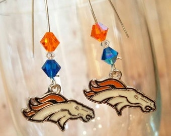 Denver Broncos Inspired Dangle Earrings- Blue and Orange- Broncos - NFL Accessories and Jewelry