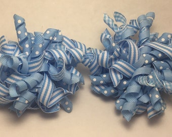 Light Blue Korker Hair Bow set