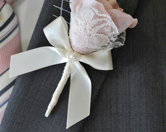 Wedding  Boutonniere Grooms Boutonniere Groomsman Boutonniere  Pink Boutonniere Wedding Boutonniere Silk Boutonniere  Blush Boutonniere