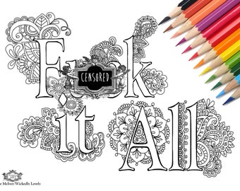fck it all swear word diy print at home digital download colouring page
