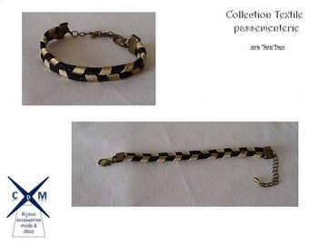 Bracelet creation textile black and gold