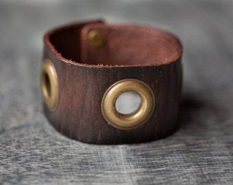 Leather Cuff by Maxavi - Wrist Cuff - Dark Brown -Leather Bracelet