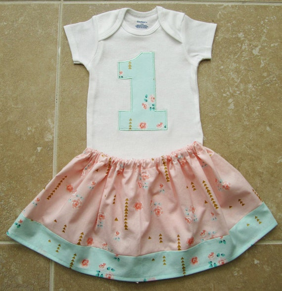 Shabby chic first birthday outfit in peach and by noellebydesign - Shabby chic outfit ideas ...
