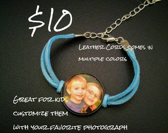 Leatherette Cord Photo Bracelet