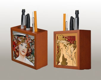 Two sides Wooden Pen Holder Style Alphonse Mucha -  Art Nouveau, Print on aluminum , FREE SHIPPING