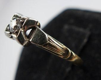 Art Nouveau Period Antique Ring 14 KT Gold Size 6.35  Diamond