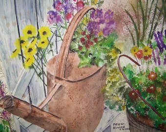 "watercolor painting, flower painting, painting of flowers, water sprinkler,14""w x 10""h,""SPRINKLER OF FLOWERS"",Peter Kundra,yellow flowers"