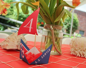Nautical Boat Party Origami Boat - Printable PDF - party decor, candy holder, party favor, nautical birthday, nautical shower, boat party