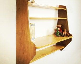 Little wooden shelves.