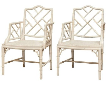 Pair Of Chinese Chippendale Faux Bamboo Armchairs