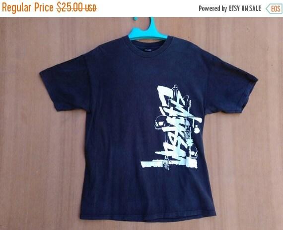 CHRISTMAS 25% Vintage 90s Stussy International Stussy A C Hip Hop Swag  Skate Surf Punk Rock Ringspun T-Shirt sz M Made In Usa tee Shirt