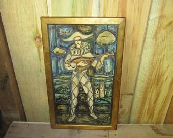 Vintage Framed Artwork Jester French