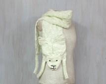 Wool hare, soft long wrap, bunny, rabbit, animal scarf, original shawl, winter accessory, for animal lovers, white light-green, neck warmer