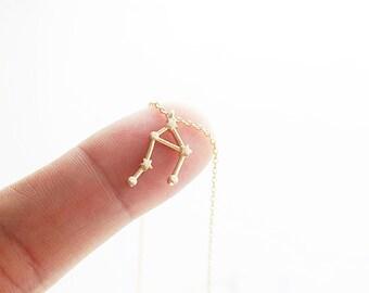 Libra Necklace Libra Constellation Necklace Gold and Silver Zodiac Libra Pendant Necklace