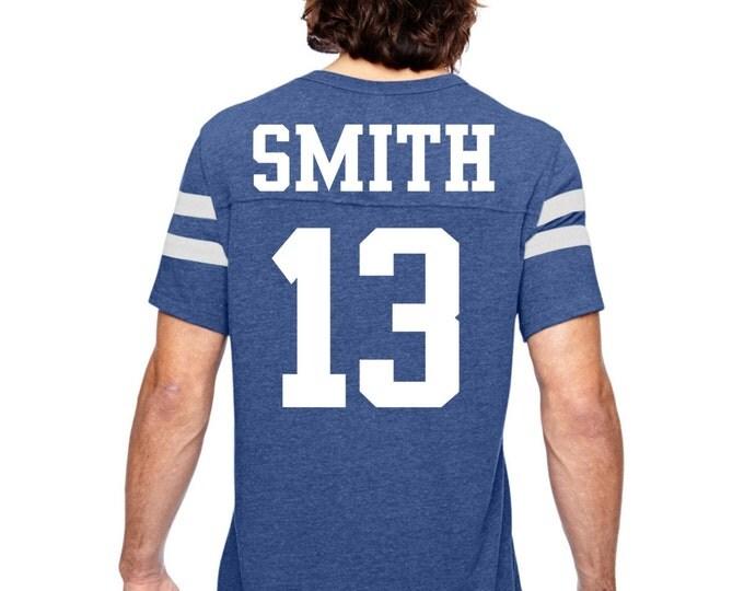 unisex football jersey t-shirt . personalized football shirt royal blue, light gray, red, navy blue, small, medium, large, XL, XXL, XXXL.