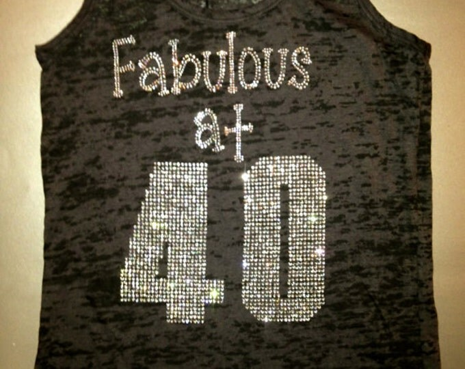 Fabulous at 40 workout tank top with rhinestones - black, pink, purple, aqua, orange, yellow, green. - All sizes.