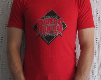 Brooks Leather - Riders Only- Vintage  Motorcycle T-Shirt