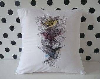Hummingbird, Pillow cover, pillow case, cushion cover, Hummingbirds pillow , bird pillow, birds pillow cover, pillow with hummingbird