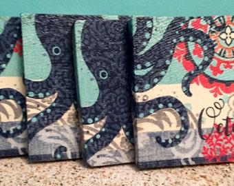 Boho Octopus Design Coasters Set of 4