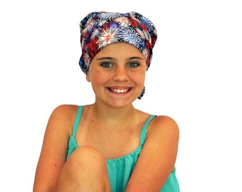 Mia Children's Head Cover, Girl's Cancer Headwear, Chemo Scarf, Alopecia Hat, Head Wrap, Cancer Gift for Hair Loss - Fireworks