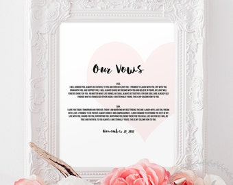 Wedding Vows Print / Bride and Groom Wedding Vows Prints 1st Anniversary Gift Paper Valentines Gift Wife Husband Printable Vows Personalised