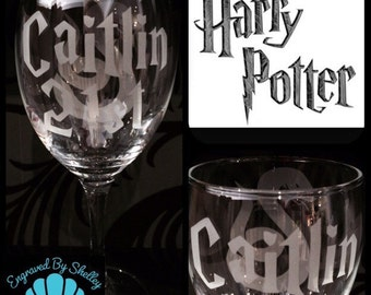 Custom Made Harry Potter Slytherin Wine Glass With FREE Personalisation!  Handmade Gift!